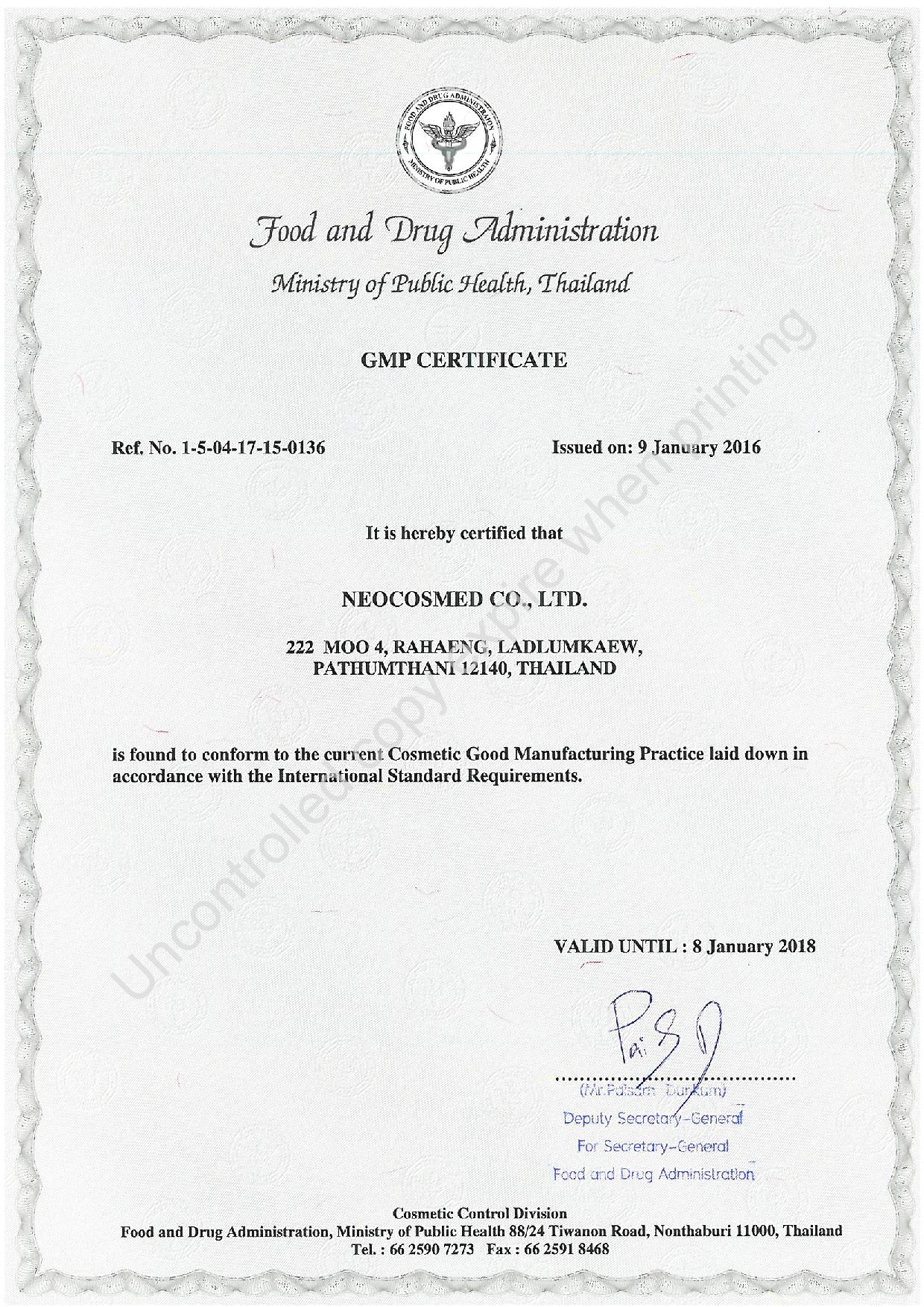 Certifications - NEOCOSMED | The leading OEM Manufacturer of ...